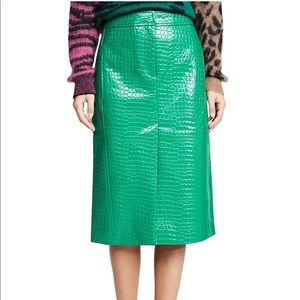 TIBI Trouser Pencil Skirt in Jade Green Croc, sz 2
